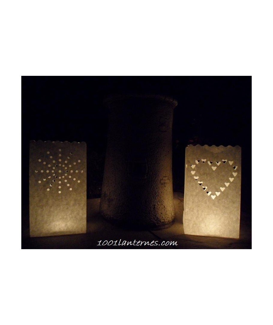Pack de 10 lanternes de jardin en papier mod le coeur - Lanterne de jardin papier ...